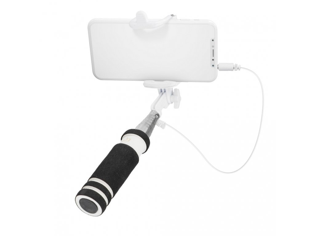 80541 3 mini selfie drzak kabel 3 5 mm bily cerny