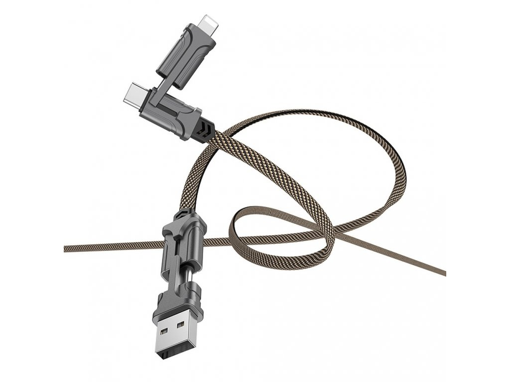 152126 hoco selected kabel usb magic 4v1 s22 cerno hnedy