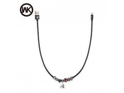 101700 3 kabel wk design usb microusb s koralky a priveskem cerny