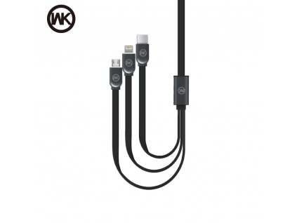101742 2 usb kabel wk design platinium 3v1 microusb lightning usb typ c cerny
