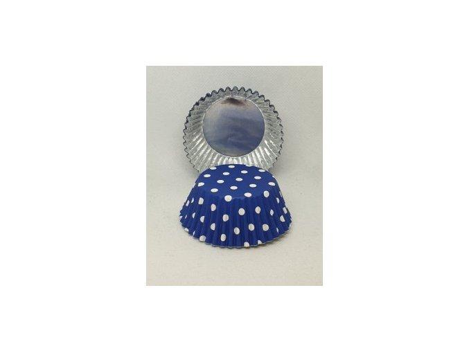 Cukrářské košíčky modrý puntík 50x30 mm - 30 ks