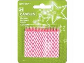 Svíčky dortové růžové - 24 ks
