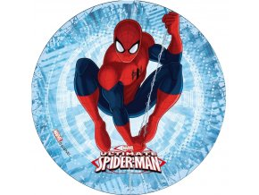 disque pour gateau spiderman fond orange 21 cm en azyme
