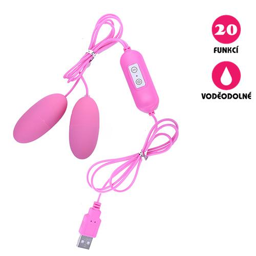 Vibrační vajíčko USB Double Egg růžové
