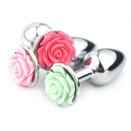 Ocelový anální kolík Medium Rose (oranžový květ)
