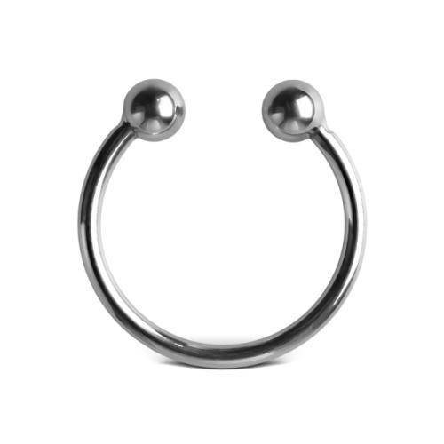 Ocelový erekční kroužek Double Ball Glans Ring