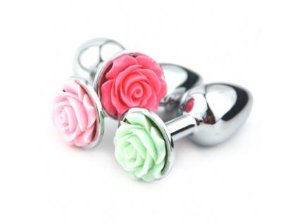 Ocelový anální kolík Small Rose (oranžový květ)