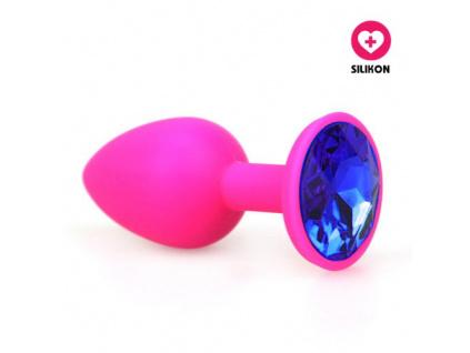 Silikonový anální kolík Small Diamond růžový (modrý kamínek)