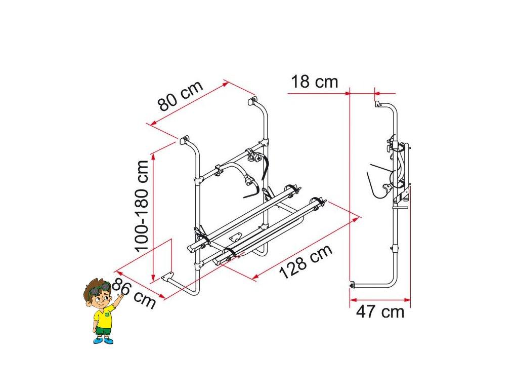 Nosič kol zadní na obytné přívěsy, Fiamma® Carry-Bike Universal www.vseprokaravan.cz