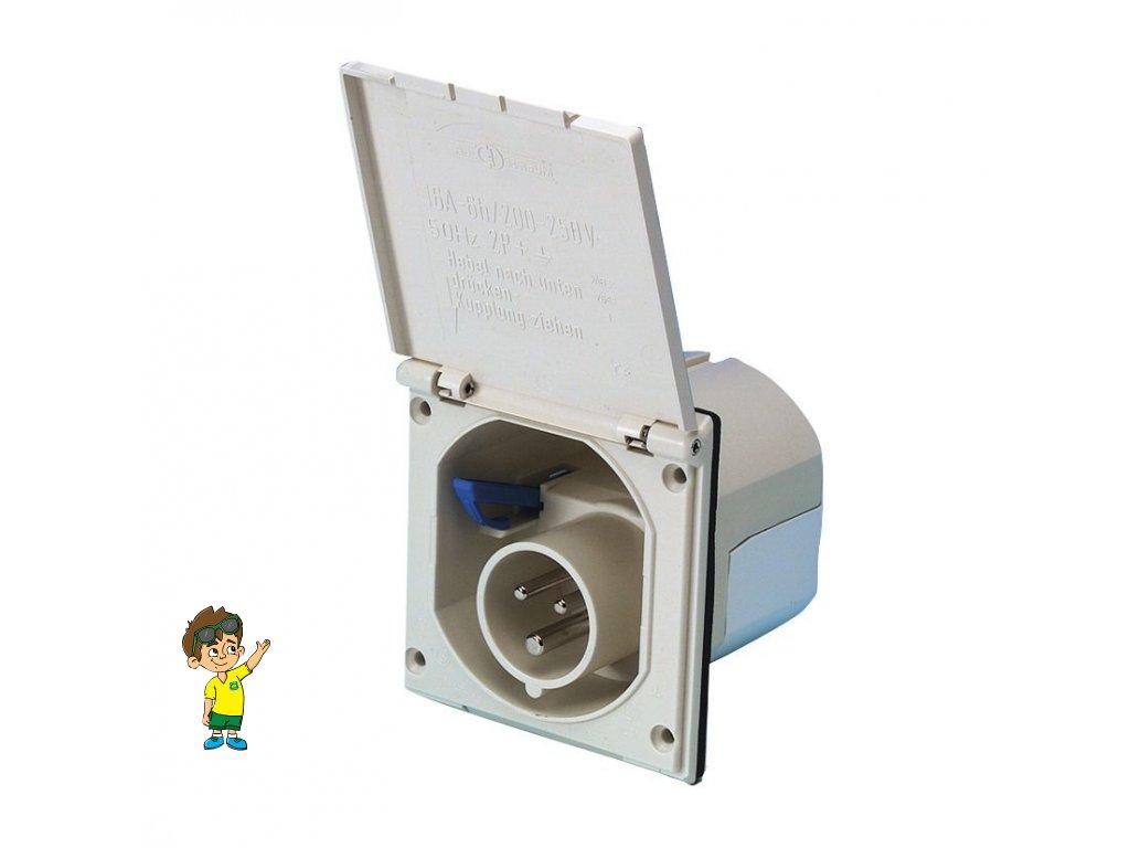 Venkovní zásuvka CEE 3 kolíková, bílá, FAWO