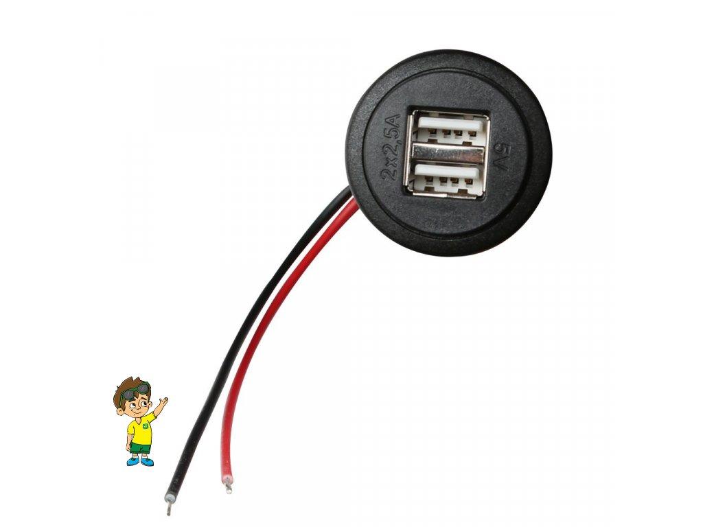 Dvou zásuvka USB vnitřní s montážní základnou, PRO CAR www.vseprokaravan.cz
