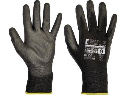 Pracovní rukavice BUNTING EVO, černé, polyester máčený v PU (čísla 10)