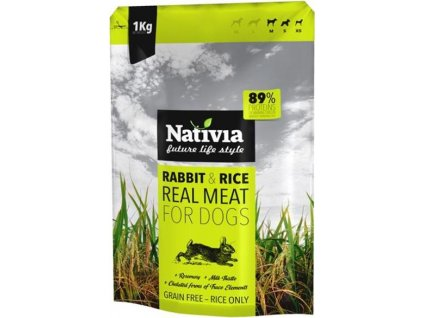 221101 nativia dog real meat rabbit rice 1 kg
