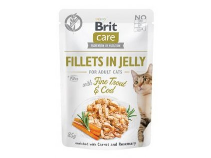 223159 brit care cat fillets in jelly with trout cod 85g
