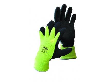 Zateplené rukavice PALAWAN WINTER, nylon s latexem, žlutá-černá