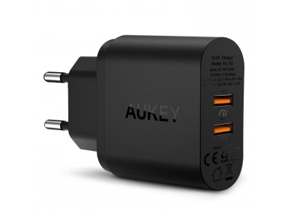 81473 aukey quick charge 3 0 dual port turbo charger pa t16