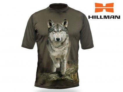 Myslivecké tričko  kr. rukáv Vlk 3D b. Dub (velikosti 2XL)