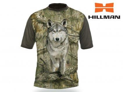 Myslivecké tričko  kr. rukáv Vlk 3D b. Kamufláž (velikosti 2XL)