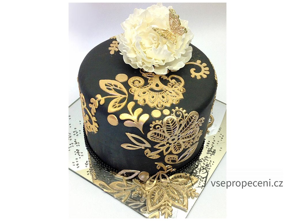 gold bebe lace on dramatic black edible lace