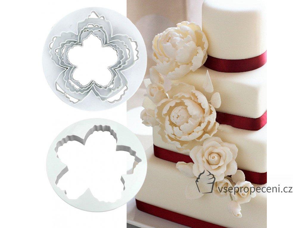 4Pcs Peony Flower Petal Shape Cutter Fondant Cake Sugar Paste Icing Cutting Tool 1