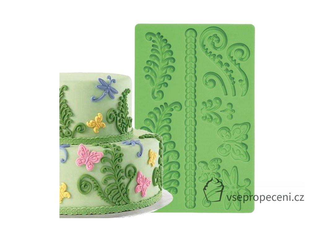 Fern Fondant and Gum Paste Cake Border Silicone Mold Fondant Cake Decoration Tools.jpg 640x640