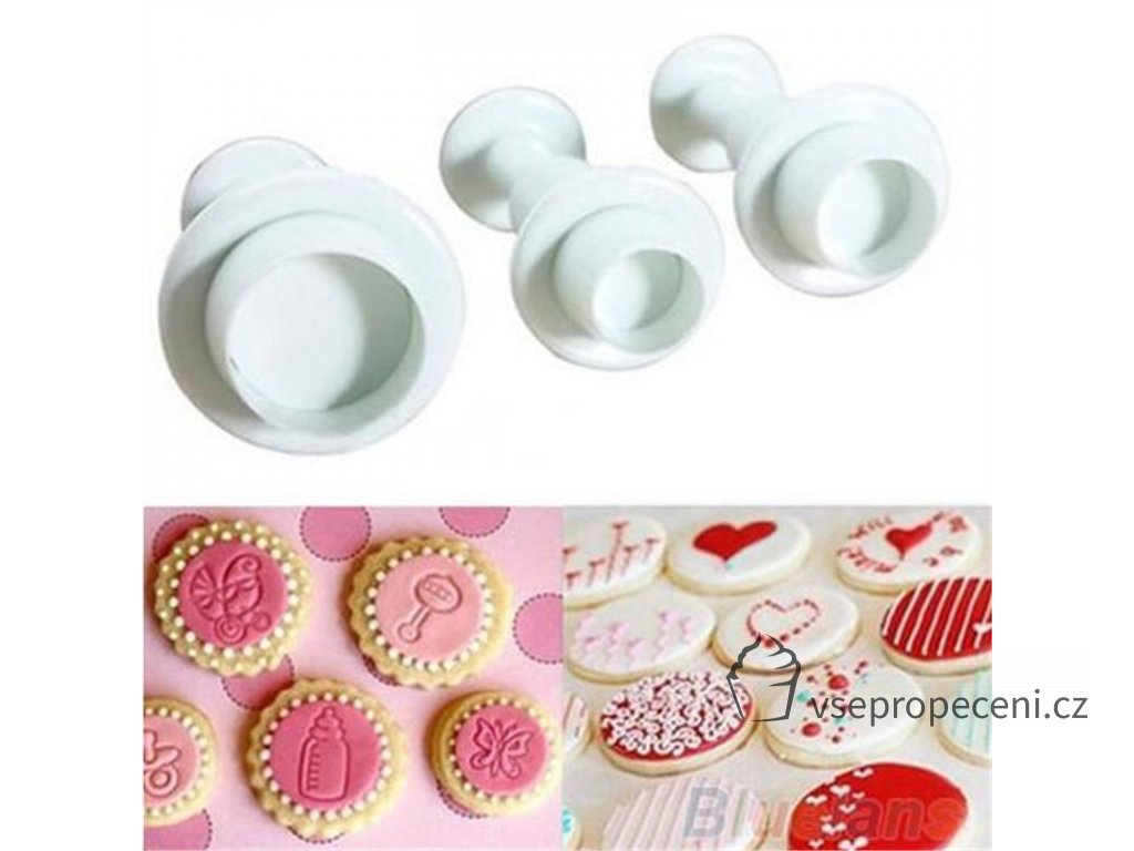 3PCS Round Fondant biscuit Pastry Plunger stamp press Mold birthday wedding Cake decorating baking Tools Chocolate