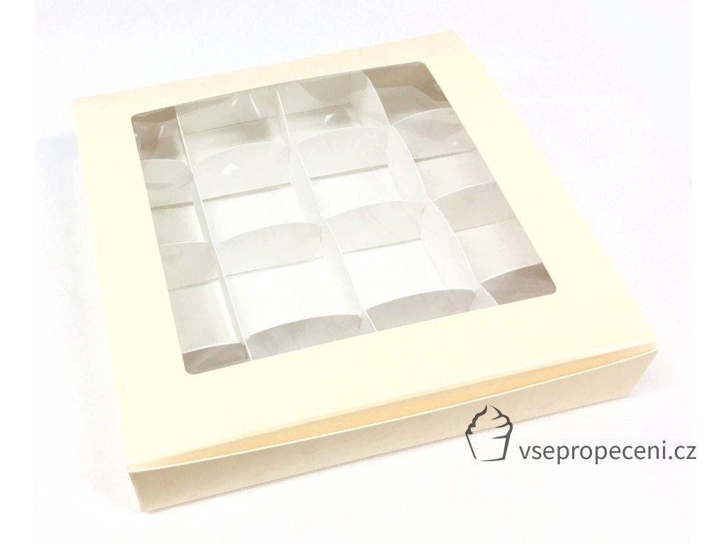 krabicka na pralinky 16 x 16 cm na 16 kusu