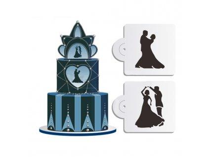 Baking plastic Cake Stencil wedding bridegroom bride Cake Lace Side 4 75 H x 12 75