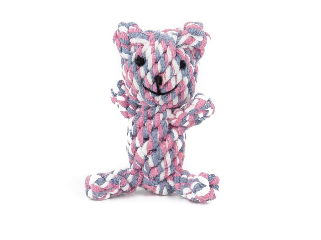 Lety růžový zapletený medvídek | 12 cm - hračky pro psy - vsepropejska.cz