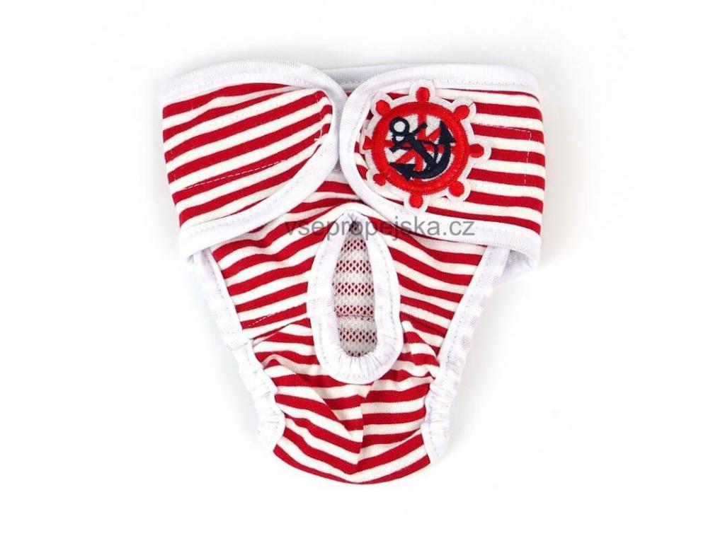 Marine červeno-bílé látkové hárací kalhotky pro psa - hárací kalhotky - vsepropejska.cz