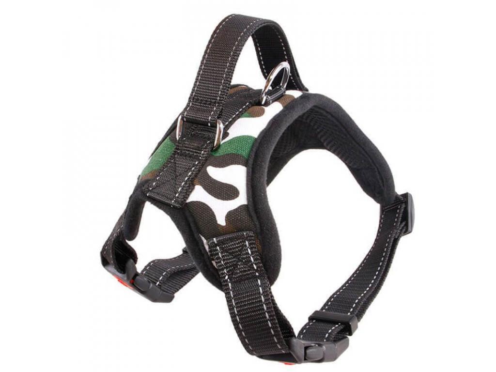 Sporty maskáčový sportovní postroj pro psa   45 – 91 cm