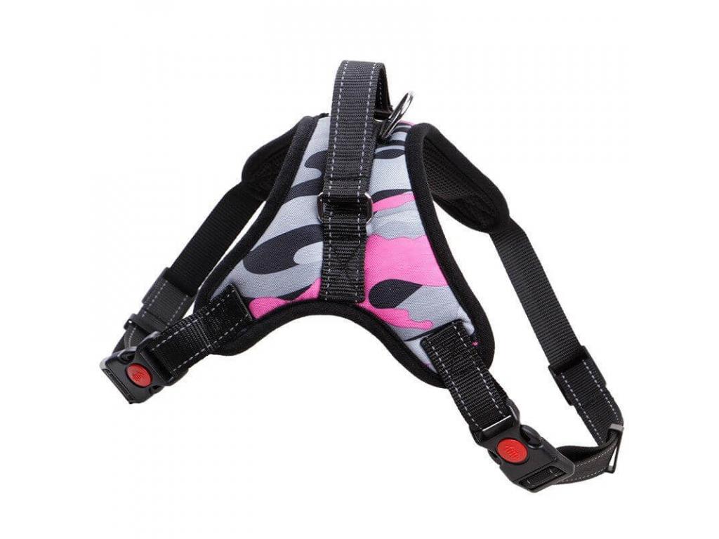 Sporty šedo-růžový maskáčový postroj pro psa   45 – 91 cm