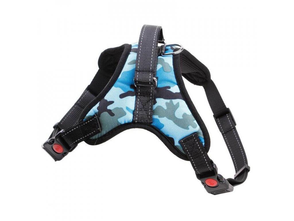 Sporty modrý maskáčový postroj pro psa | 45 – 91 cm