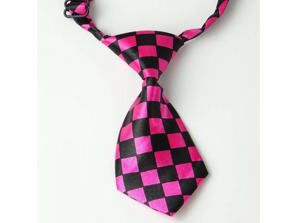 Černo-růžová kostkovaná kravata pro psa - kravaty pro psy - vsepropejska.cz