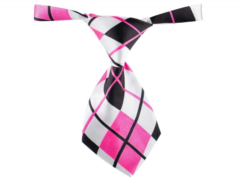 Růžovo-bílá károvaná kravata pro psa - kravaty pro psy - vsepropejska.cz