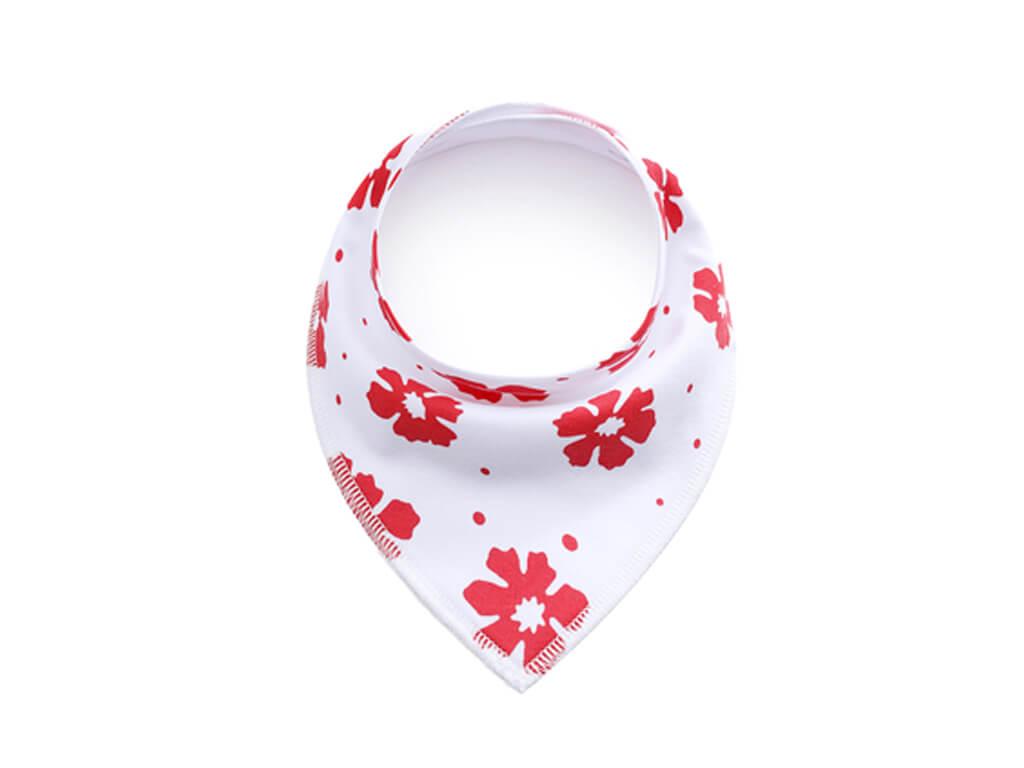 Flover bílo-červený šátek pro psa s květinou - šátky pro psy - vsepropejska.cz