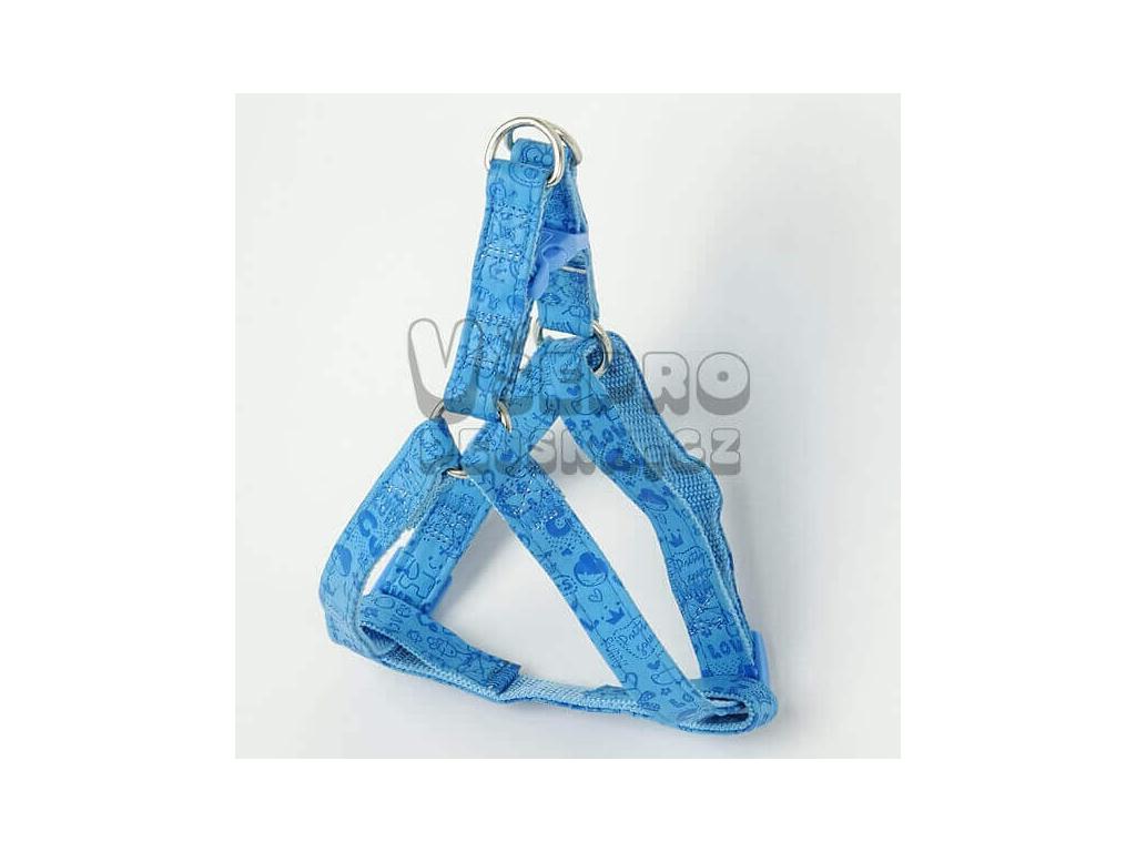 Print modrý postroj pro psa s potiskem