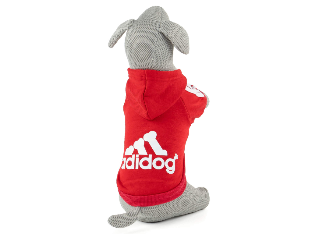 Adidog červená mikina pro psa - oblečky pro psy - vsepropejska.cz