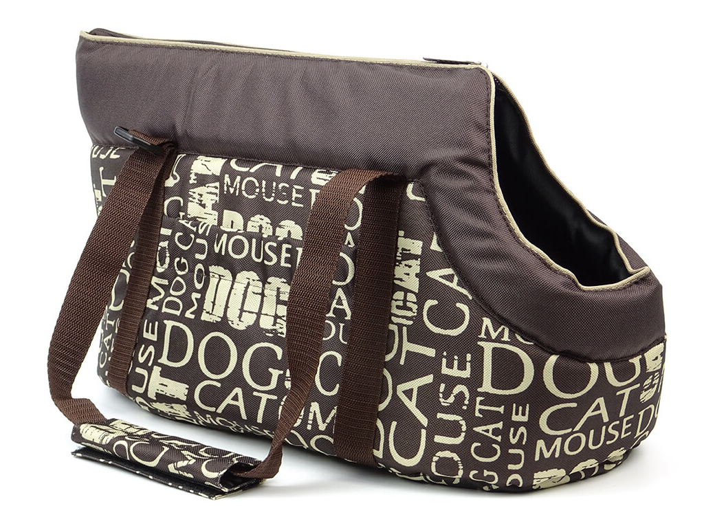 Nice hnědá taška pro psa s nápisy - tašky na psy - vsepropejska.cz