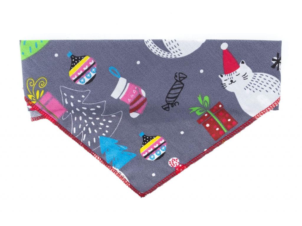 Vánoční šedý šátek pro psa
