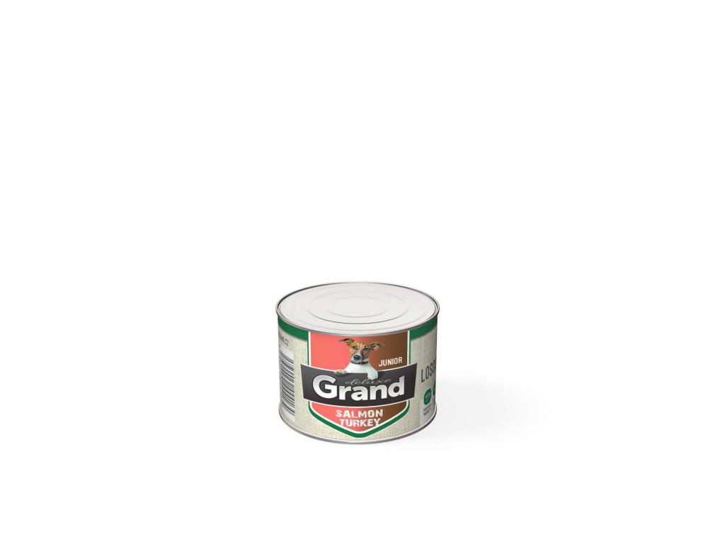 Grand deluxe 100% losos & krůta konzerva pro psa junior | 180g - vsepropejska.cz