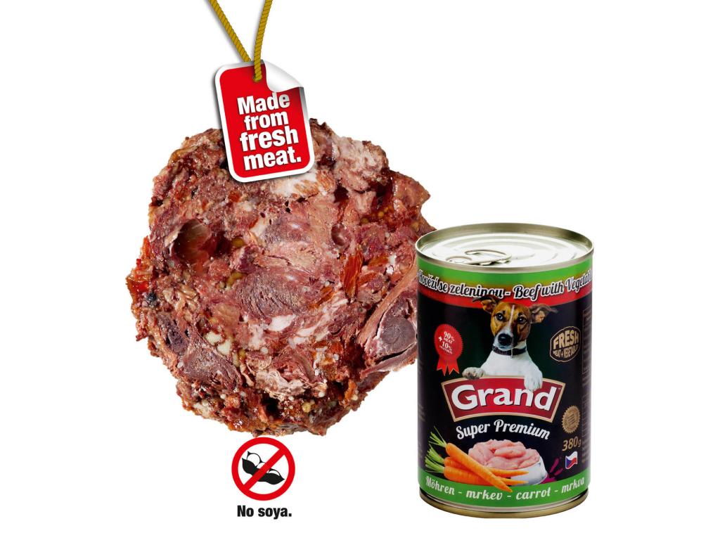 Grand superpremium hovězí-mrkev konzerva pro psa | 380g - vsepropejska.cz