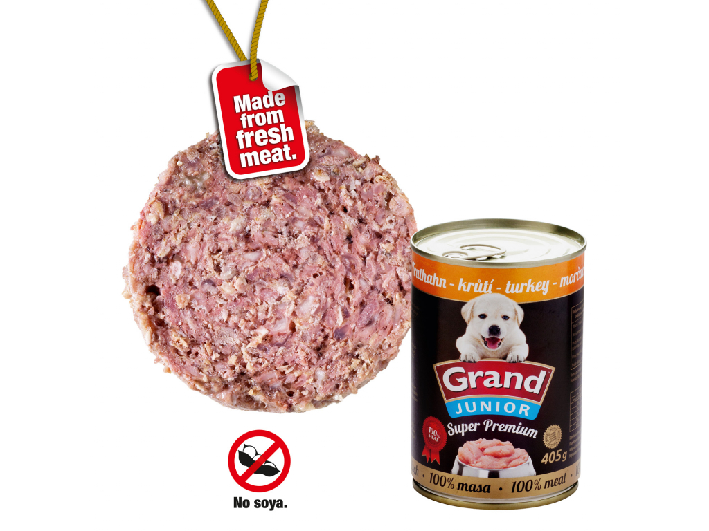 Grand superpremium krutí konzerva pro psa junior | 405g - vsepropejska.cz