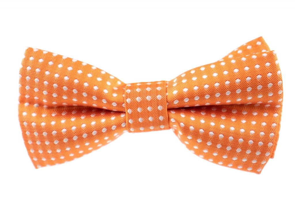 Elegant oranžový motýlek pro psa s puntíky - vsepropejska.cz