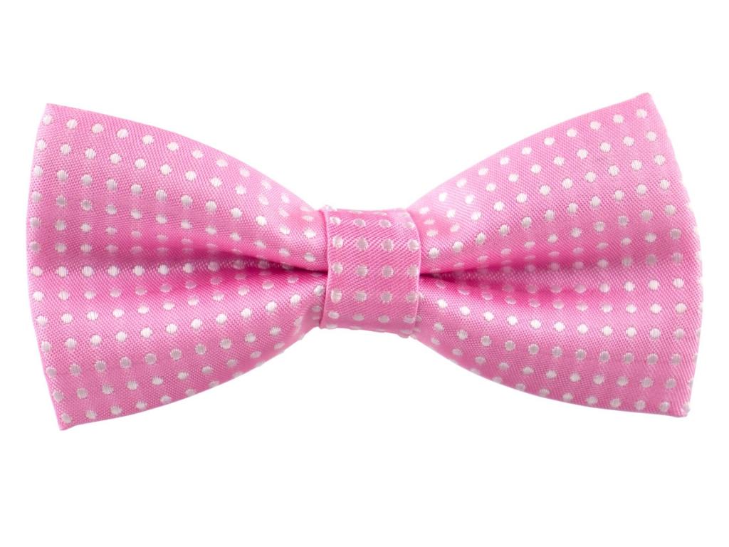 Elegant světle růžový motýlek pro psa s puntíky - vsepropejska.cz