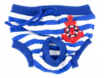 Absorb modré látkové hárací kalhotky pro psa s kotvou - hárací kalhotky pro psy - vsepropejska.cz