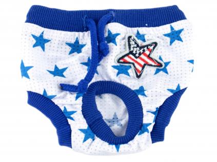 Absorb modré látkové hárací kalhotky pro psa s hvězdičkami - hárací kalhotky pro psy - vsepropejska.cz