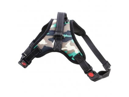 Sporty hnědo-zelený maskáčový sportovní postroj pro psa | 45 – 91 cm
