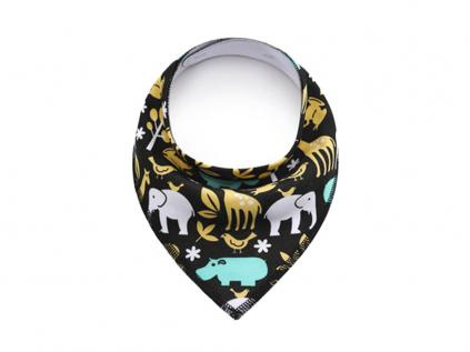 Jumbo černý šátek pro psa se slonem a žirafou - šátky pro psy - vsepropejska.cz