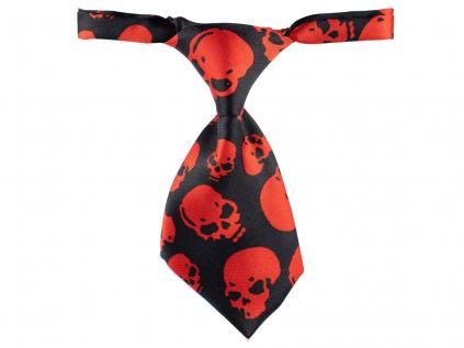 Skull černo-červená kravata pro psa